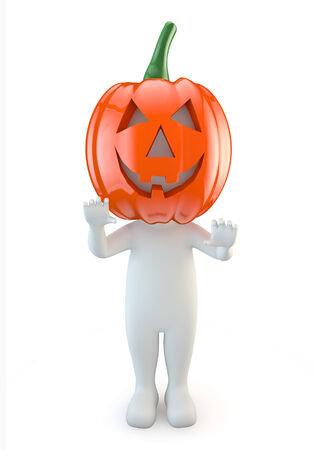 3d halloween: 3d cute people - halloween pumpkin
