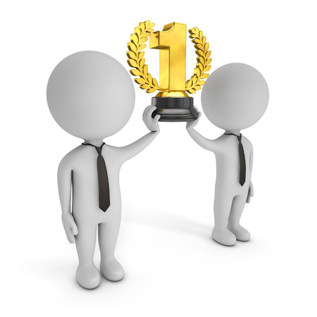 small business team: 3d cute people - winning team with golden trophy Stock Photo