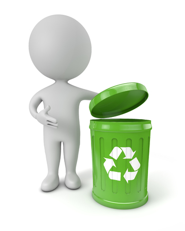 reciclable: Gente linda 3d - contenedor de reciclaje verde