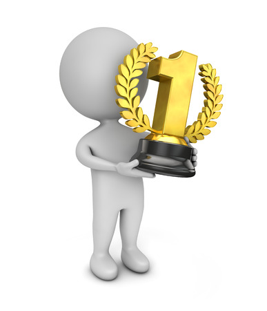 3d cute people- golden trophy Stock Photo