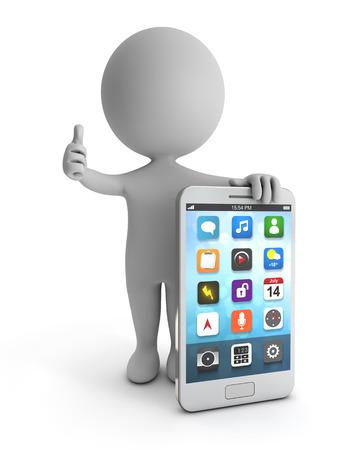 3d leuke mensen - status wit smartphone geïsoleerde witte backgorund met het knippen van weg