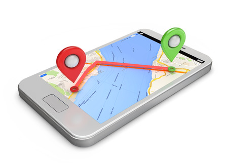white smartphone gps map and pins on the screen isolated white background photo