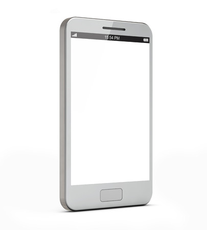white smartphone with blank screen isolated white background include clipping path Stock Photo