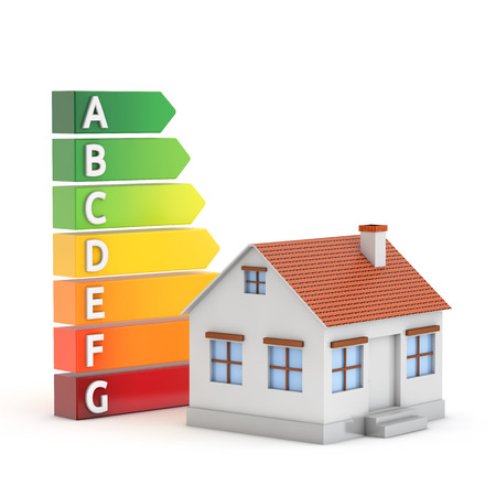 house and energy efficiency label isolated white background with clipping path