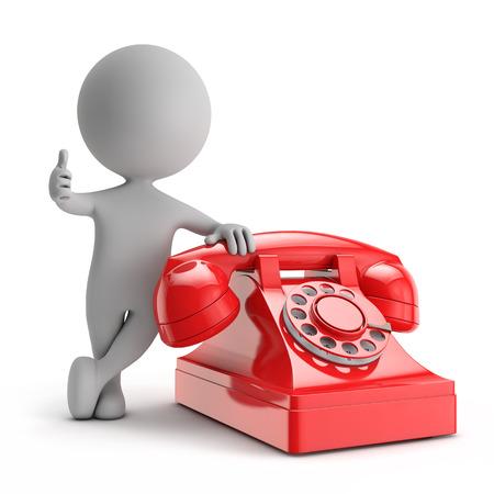 3D niedlichen Menschen - stand mit roten Telefon Kontakt mit uns auf Konzept isolierten weißen Hintergrund Standard-Bild - 31427449