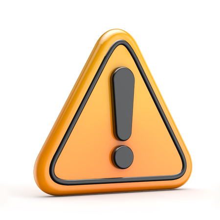 important information: Exclamation danger (warning) symbol isolated white background with clipping path Stock Photo