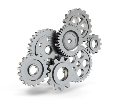 Steel gear mechanism isolated white background with clipping path