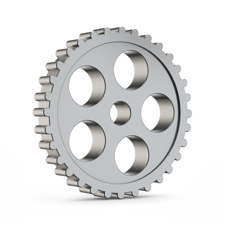 3d metal cog gear isolated white background with clipping path