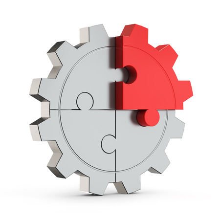puzzle gear red part (creativity) isolated white background with clipping path
