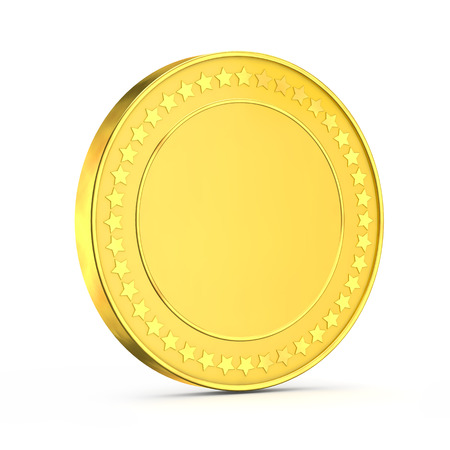3d shiny gold coin  isolated white background with clipping path