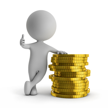 3d cute people - standing with stack of gold coins (financial success) isolated white background