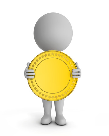 3d cute people - holding gold coin isolated white background with clipping path