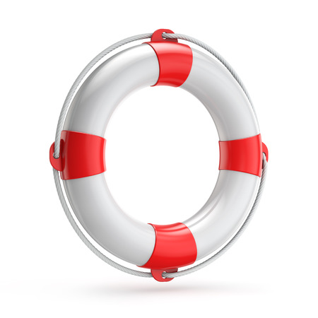 lifebuoy safety concept isolated white background with clipping path