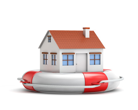 protection house with lifebuoy isolated white background with clipping path