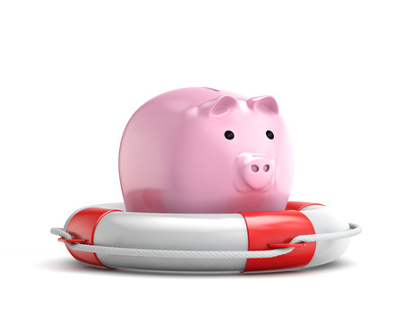 insurance protection:  protection piggy bank (investment) with lifebuoy isolated white background with clipping path