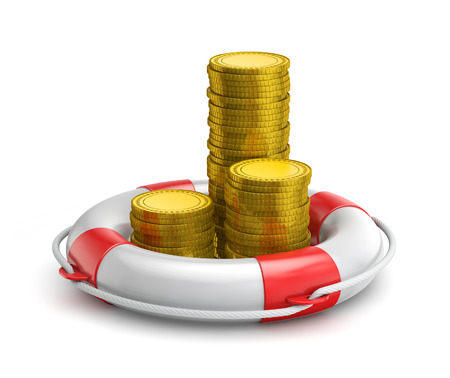 stacks of coins inside lifebuoy isolated white background with clipping path Standard-Bild