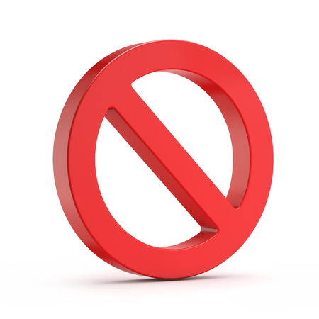 red no sign (forbidden) isolated white background with clipping path