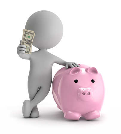 3d cute people - standing with pink piggy holding dollar stack of money isolated white background Standard-Bild