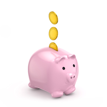 piggy bank falling gold coins (savings) isolated white background include clipping path Standard-Bild