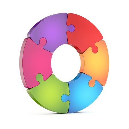 circle jigsaw puzzle wheel isolated white background with clipping path