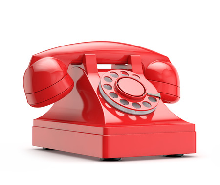 retro (vintage) red phone isolated white background with clipping path Banco de Imagens