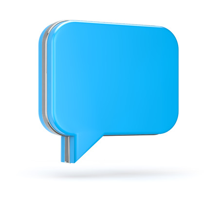3d blue chat bubble isolated white background with clipping path