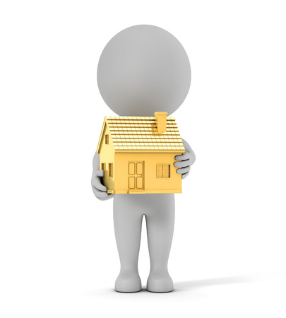 3d cute people - holding golden house isolated white background with clipping path