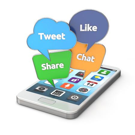 다채로운 소셜 미디어 연설 스마트 폰 클리핑 패스와 함께 흰색 배경에 고립 거품