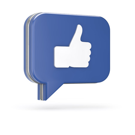 3d like (thumb) chat bubble isolated white background with clipping path