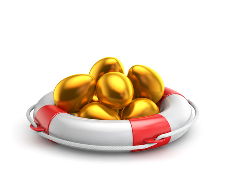 golden easter egg inside lifebuoy isolated white background with clipping path Standard-Bild