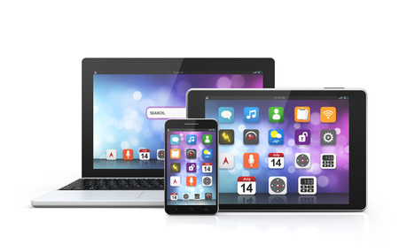 laptop mobile: mobile technology laptop, smartphone, tablet isolated white background