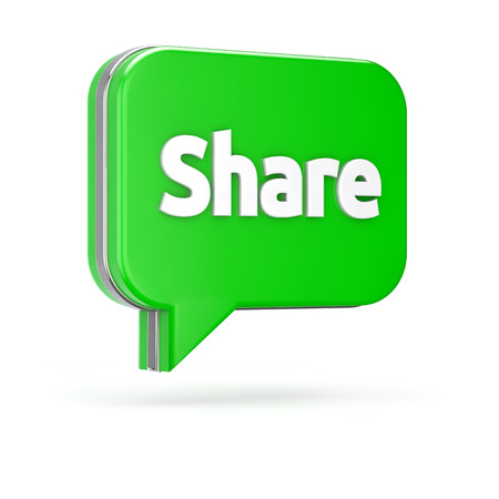 3d green share bubble isolated white background
