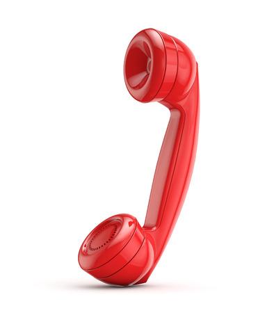 red retro phone isolated white background