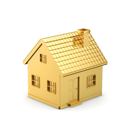 investment: golden simple house isolated white background
