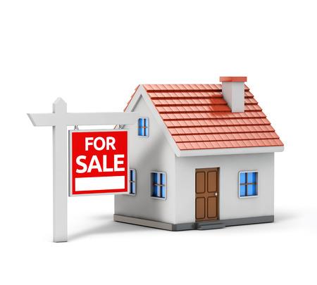 enkel huis te koop geïsoleerde witte achtergrond met het knippen van weg