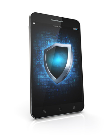 smartphone security screen isolated white background