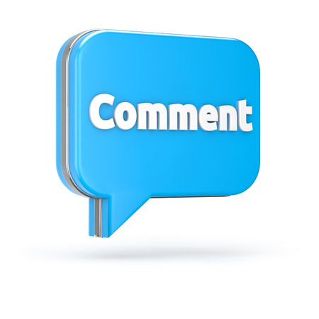 3d blue comment bubble isolated white background with clipping path