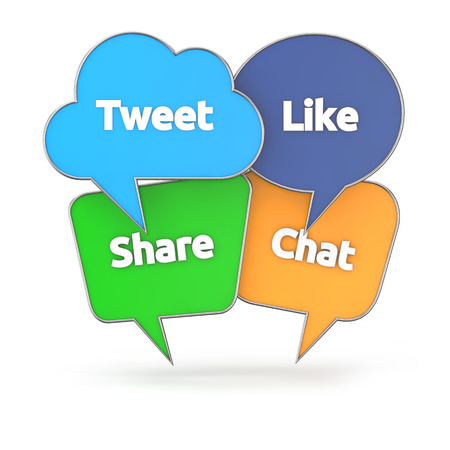 tweet balloon: social media concept with colorful speech bubble isolated white background