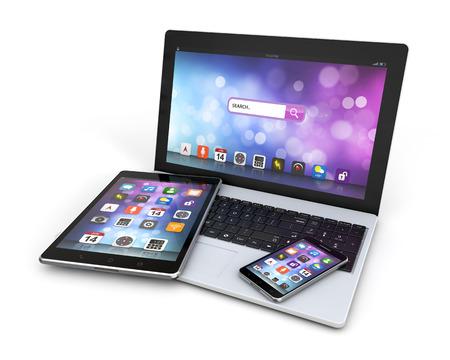 現代装置のラップトップ、スマート フォン、 写真素材