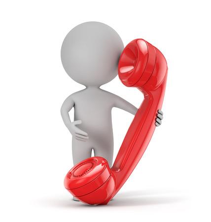 uomo rosso: 3d persone in possesso di cute - retro rosso telefono isolato sfondo bianco