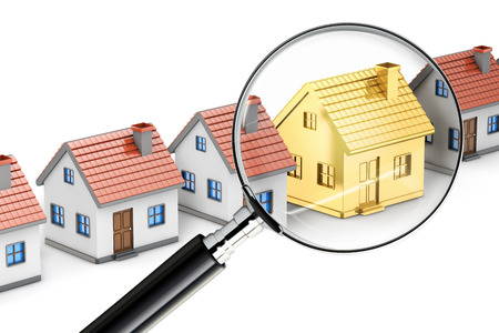 mortgage: golden house search magnifying glass isolated white background