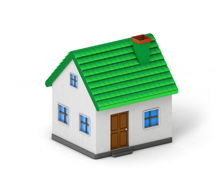 green roof house isolated white background with clipping path