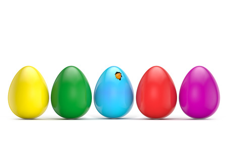 colorful eggs tweet bird isolated white background with clipping path Banco de Imagens