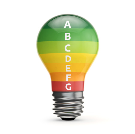 energy label inside light bulb isolated white background with clipping path Banco de Imagens