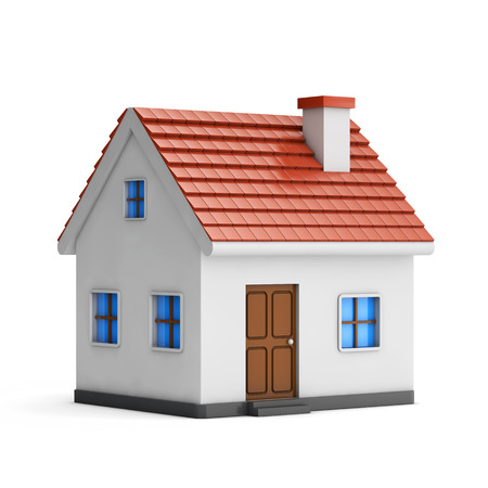 3d small house isolated white background
