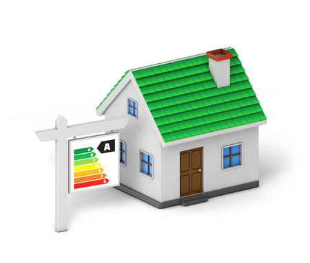 green roof house energy label isolated white background with clipping path