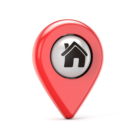 red house pin isolated white background