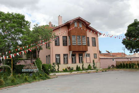 A traditional house in the city of Konya, Turkey. Akcesme a historic house in the neighborhood. The traditional house is currently used as a restaurant. The house was built in the 20th century.