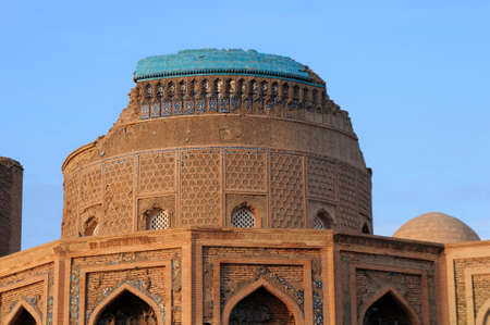 Torebek Hanim Mausoleum is located in Kunya Urgench, Turkmenistan. The mausoleum was built in the 14th century. Mrs. Torebek is the wife of Emir Timur. The mausoleum is decorated with tiles.