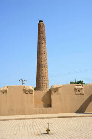 Damghan Friday Mosque was built in the 11th century during the Great Seljuk period. The brickwork in the minaret of the mosque is striking. Damghan, Iran.